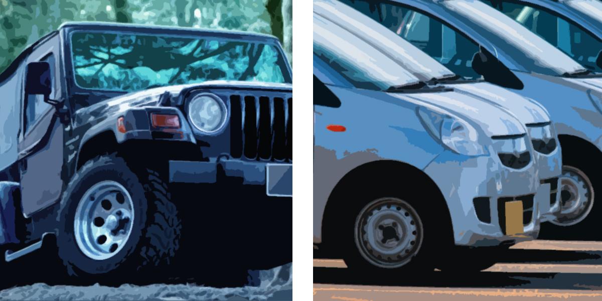 「丈夫さと軽さ」についての例:四輪駆動車と軽自動車